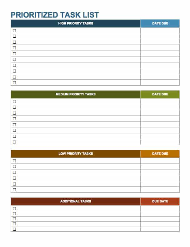 15 free task list templates smartsheet for Prioritizing tasks template
