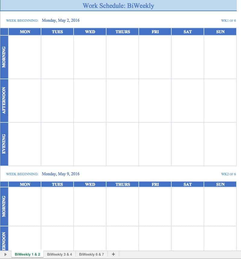 Free Work Schedule Templates For Word And Excel - Availability schedule template