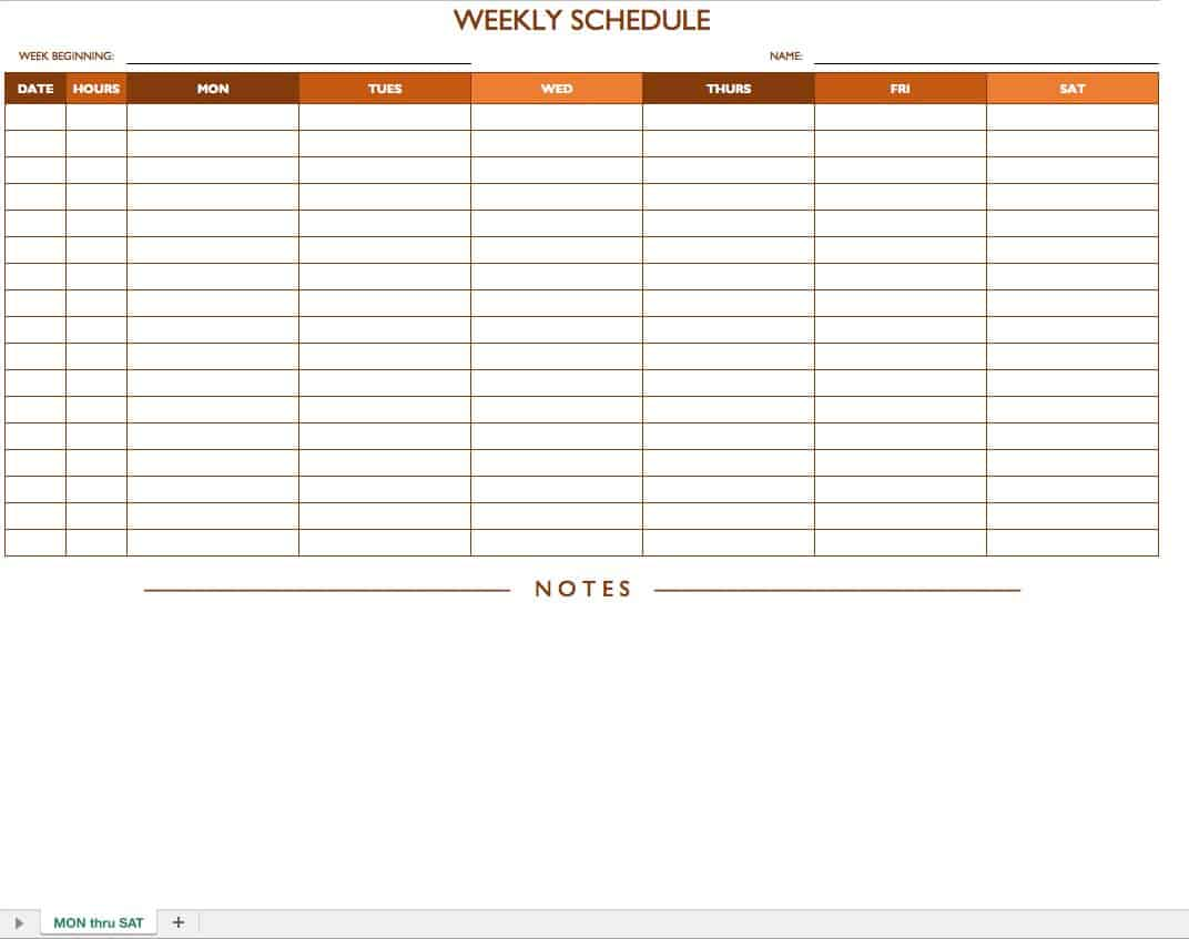 mon sat weekly work schedule template with notes - Free Schedule Template