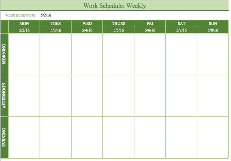 mon sun weekly work schedule template