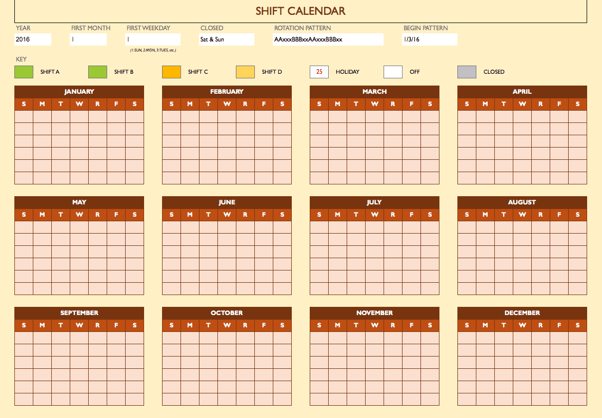 Free Work Schedule Templates For Word And Excel - Rotating shift schedule template