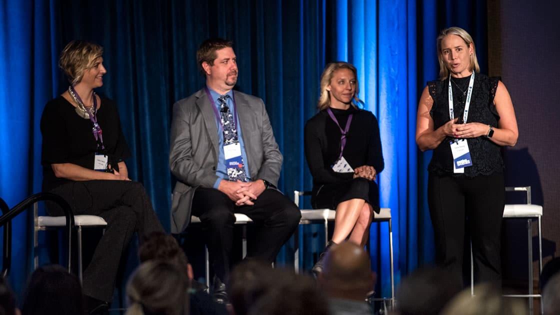 Presenters from Marketo, SAP Ariba, and CAVU Aerospace at ENGAGE'18