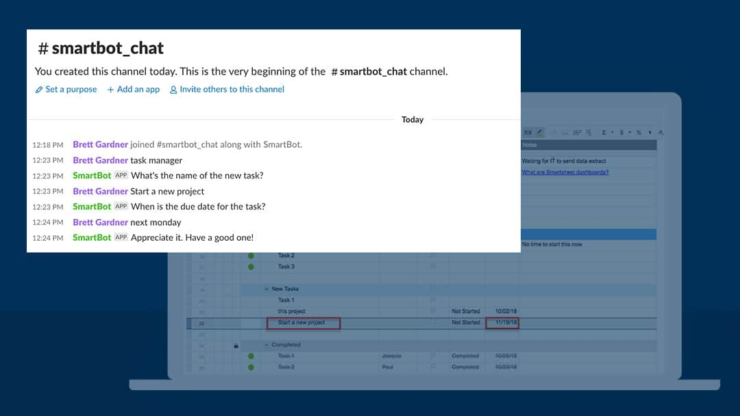 chatbot in slack updating project in smartsheet