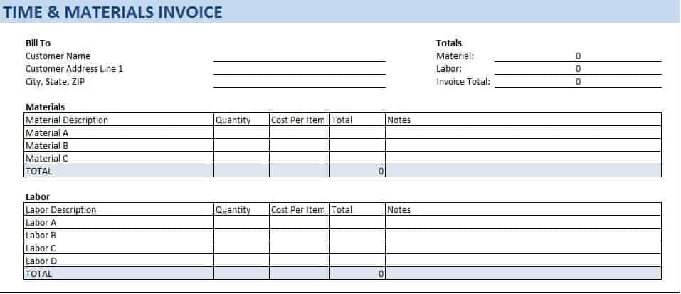 With This Time And Materials Invoice Template You Can Add In The Hours Spent Used A Specific Markup Amount To Calculate Total