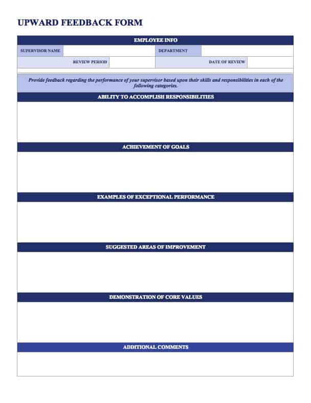 Utilizing Upward Feedback Can Boost Employee Job Satisfaction And Help  Develop More Effective Leadership. This Upward Feedback Template Gives An  Employee ...  Free Feedback Form