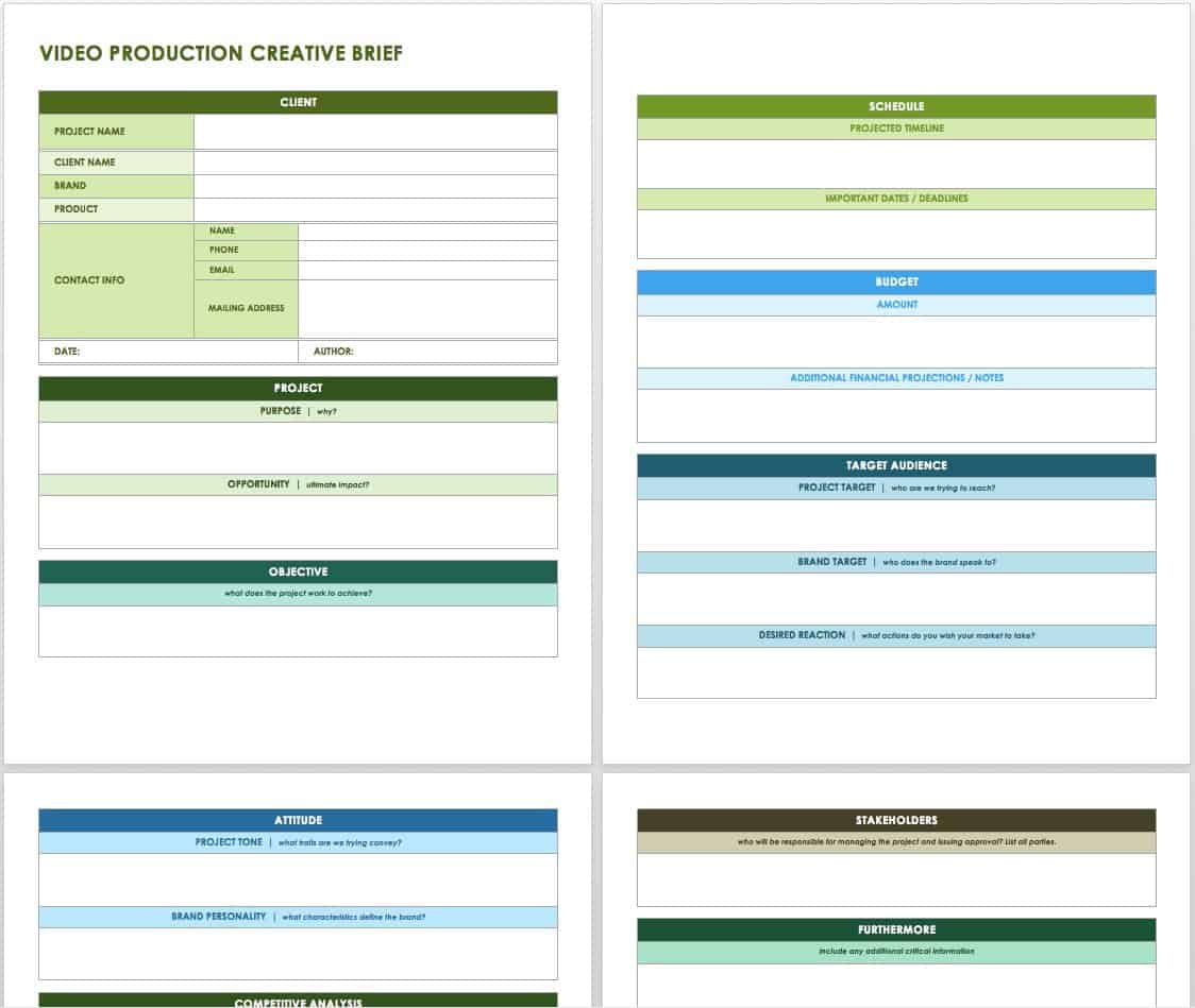Free Creative Brief Templates Smartsheet