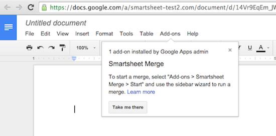 Google Doc add-on, Smartsheet Merge