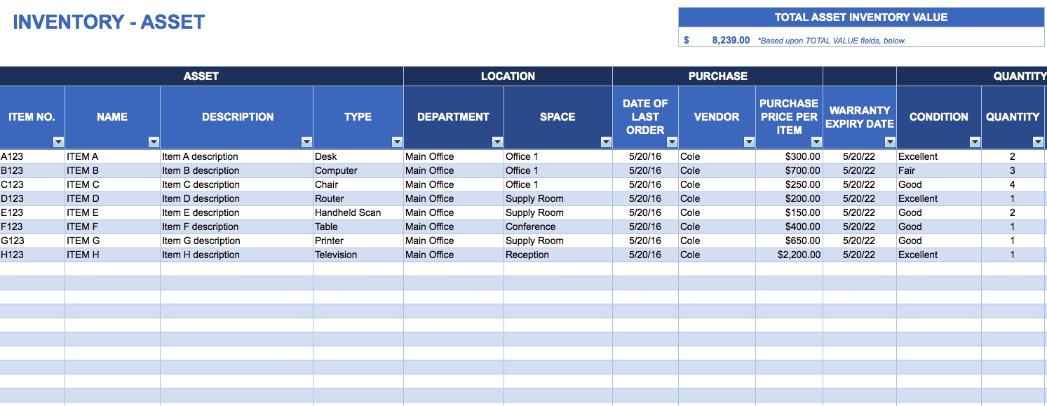 asset tracking template download excel template
