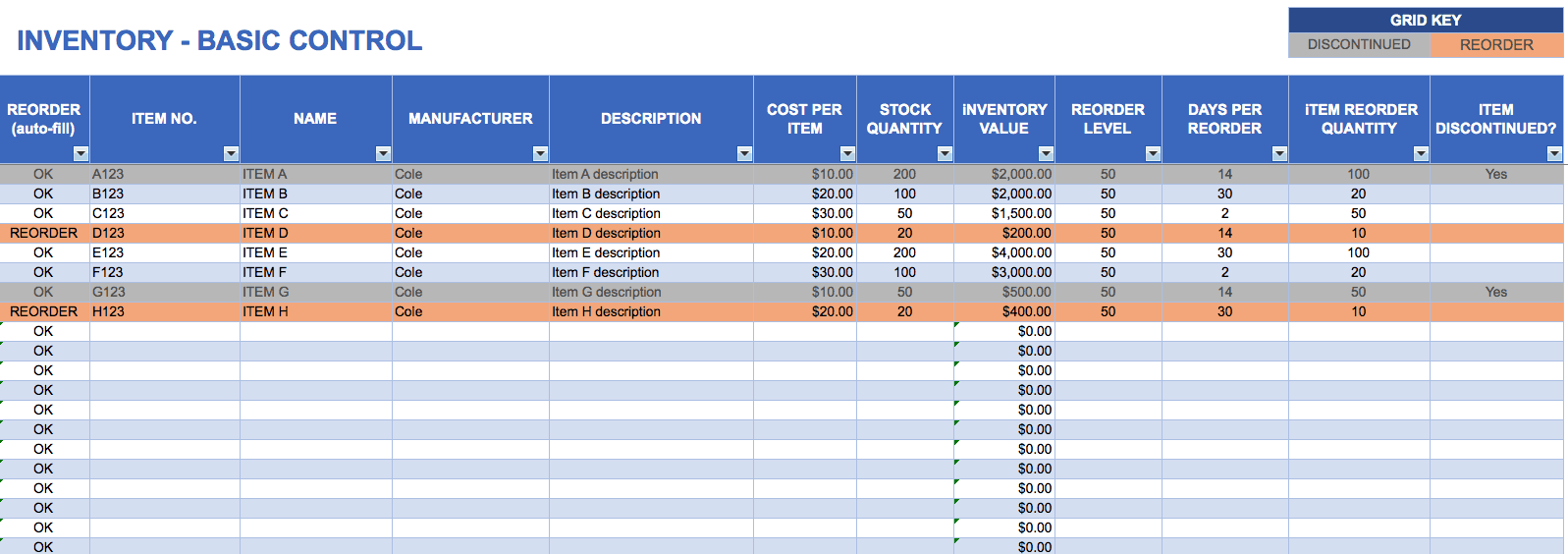 Free Excel Inventory Templates - Corporate stock ledger template