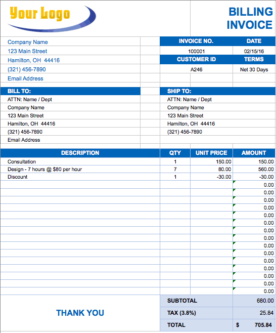 invoice template excel 2013  Free Excel Invoice Templates - Smartsheet