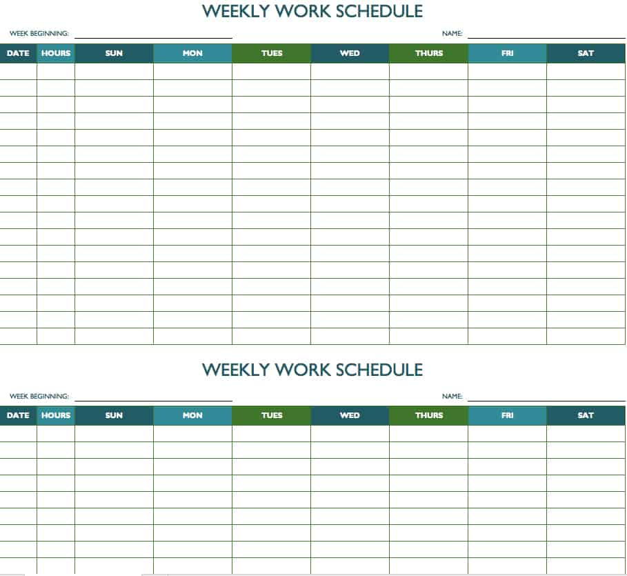 Free Weekly Schedule Templates For Excel Smartsheet - Bi weekly work schedule templates free