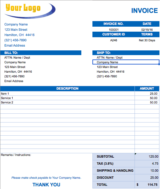 Free Excel Invoice Templates Smartsheet - Blank invoice template free download for service business
