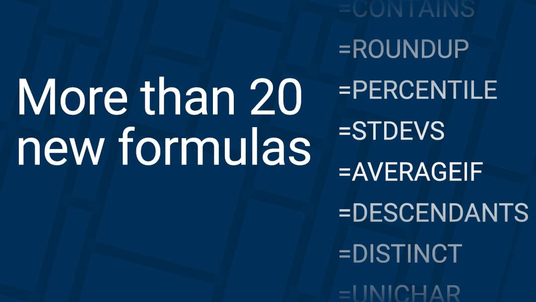 More than 20 new formulas in Smartsheet