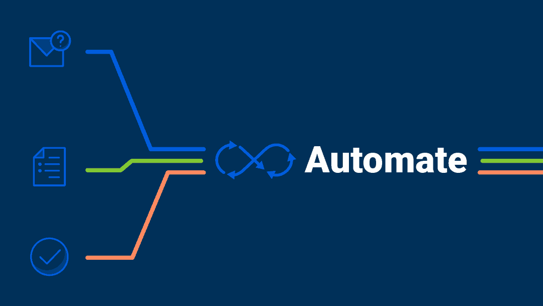 A graphic that shows icons and the word 'Automate'