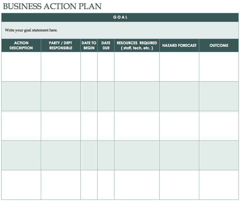 This Action Plan Template Can Be Used As A Supporting Tool To Reach The Goals In Business Or Marketing Goal Is Clearly Stated At Top Of