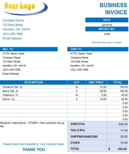 excel invoice template 2007  Free Excel Invoice Templates - Smartsheet