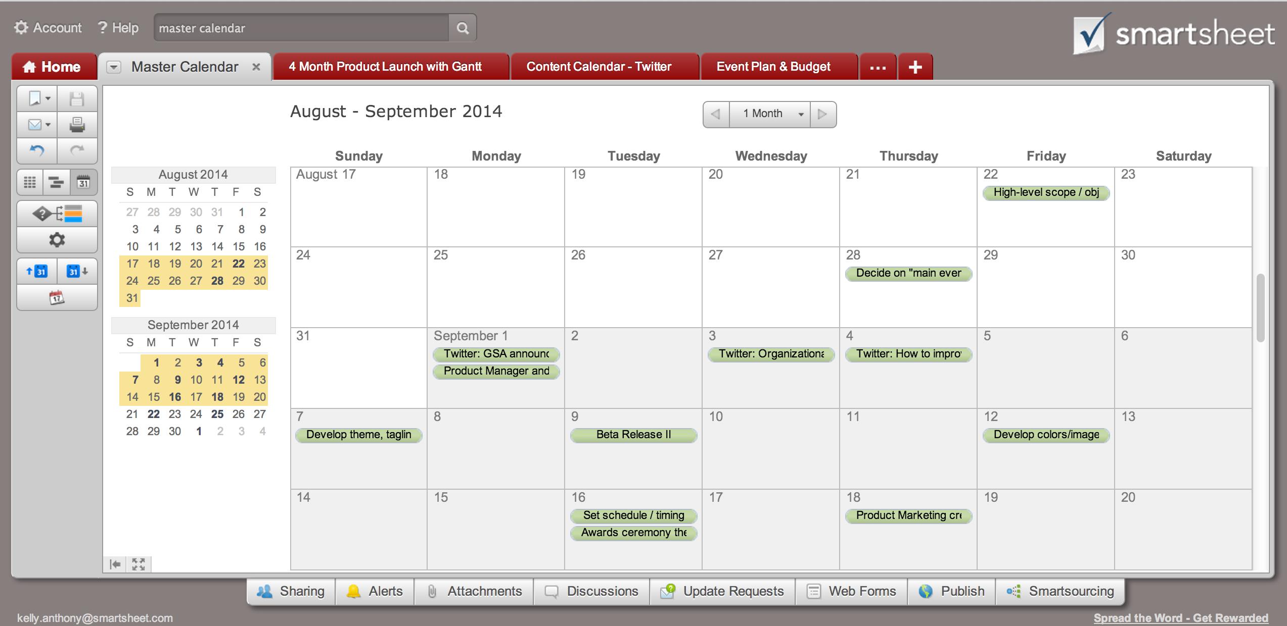 tip create a calendar dashboard in 7 quick steps smartsheet
