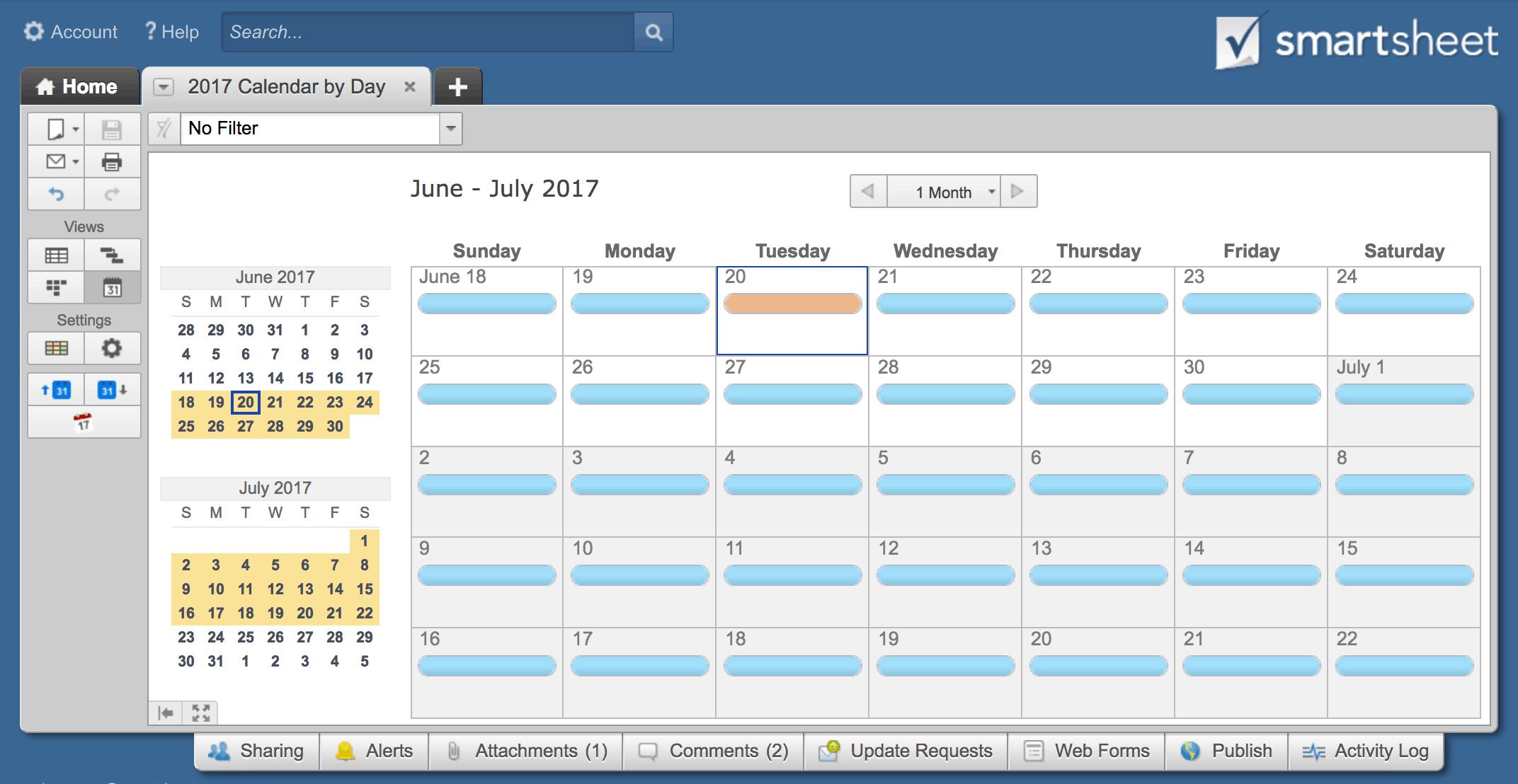 smartsheet daily calendar in calendar view