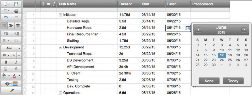 Change dates in Smartsheet