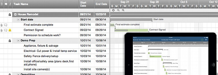 Construction Timeline with Gantt