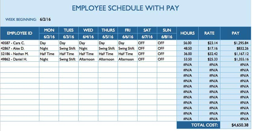 Free daily schedule templates for excel smartsheet for On call roster template