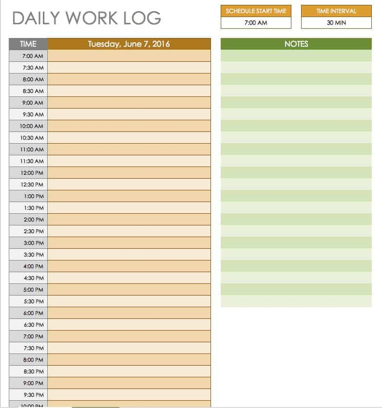 Free Daily Schedule Templates For Excel Smartsheet - Excel log template