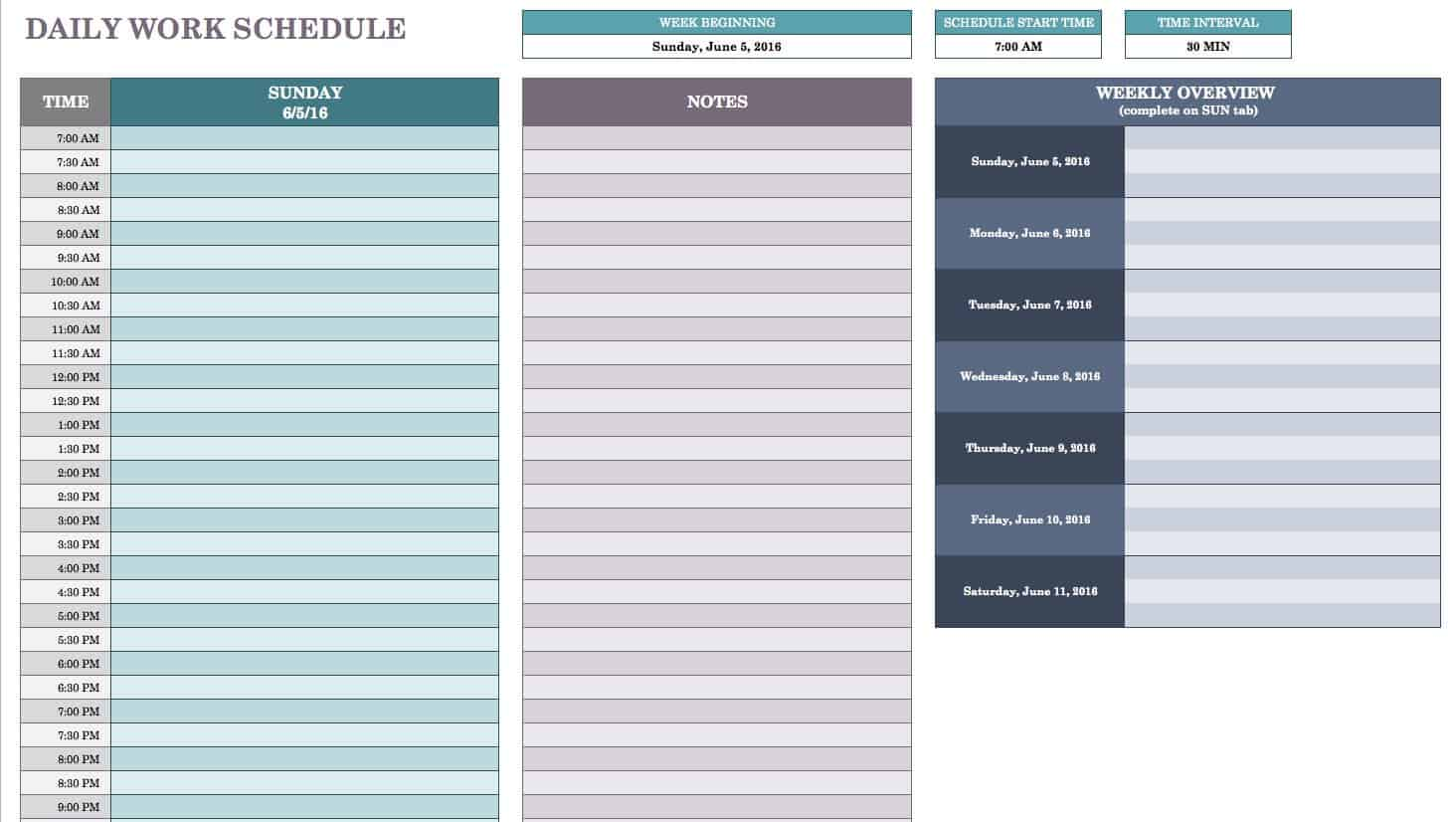 Free daily schedule templates for excel smartsheet daily work schedule template maxwellsz