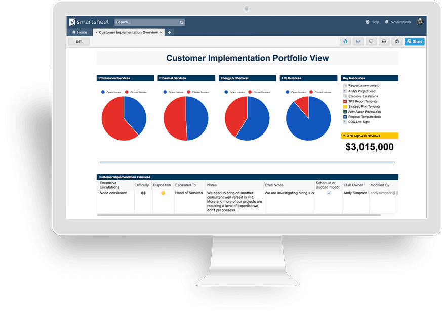 Customer Implementation Portfolio Dashboard