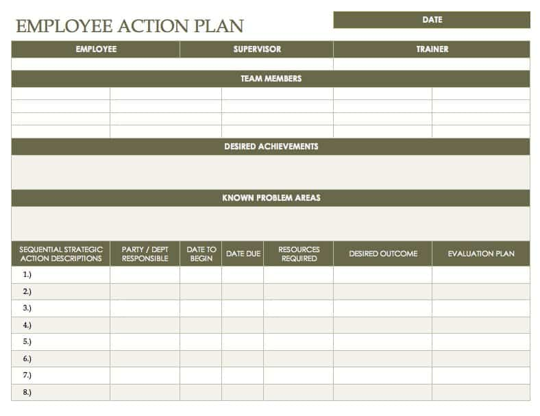 Employee Action Plan Template For Word