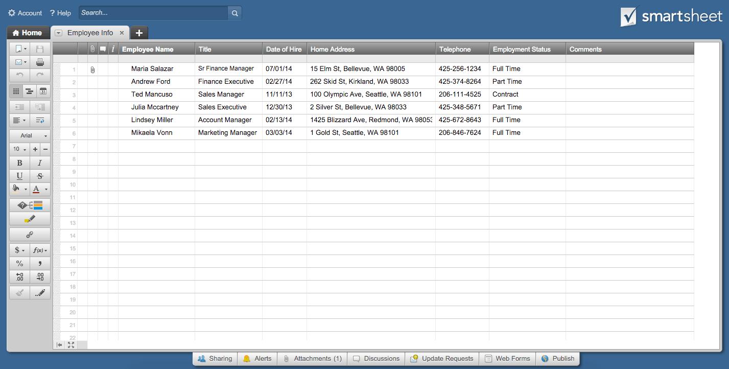 Employee Info sheet