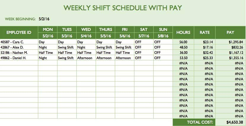 Free work schedule templates for word and excel this free template shows a weekly shift schedule and calculates paid hours and labor costs based on your data you can adjust the starting day for the week pronofoot35fo Gallery
