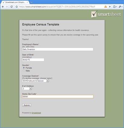 Smartsheet Simplifies Collection Of Employee Census Data