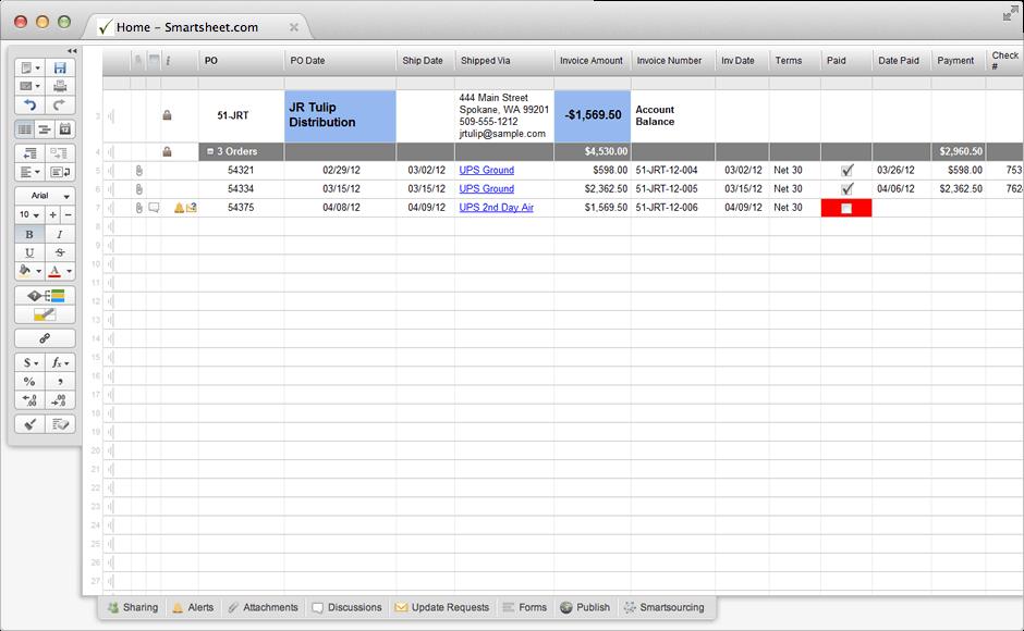 customer tracking sheet