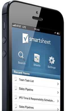 iphone showing the Smartsheet iOS app for project management and online collaboration