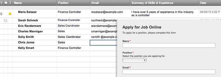 Job Application Web Form Smartsheet