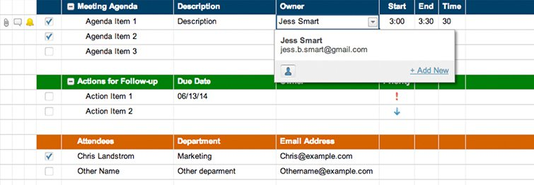 meeting agenda attendance and follow up template smartsheet
