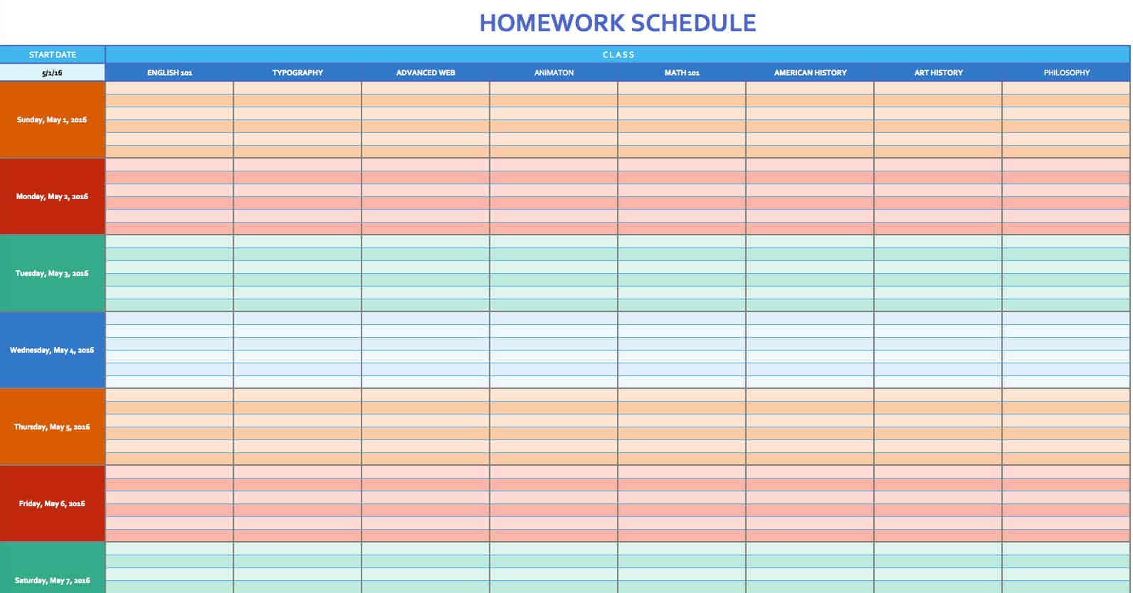 Free weekly schedule templates for excel smartsheet homework schedule template maxwellsz