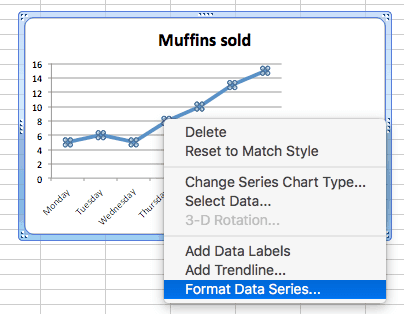 Line Charts Excel Single Change Data Series Select