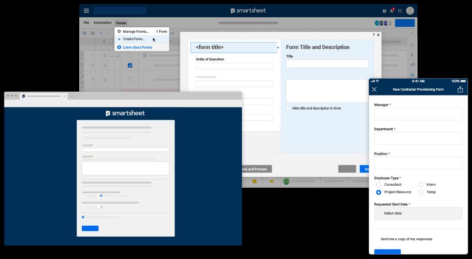 Simple screenshots of Smartsheet forms