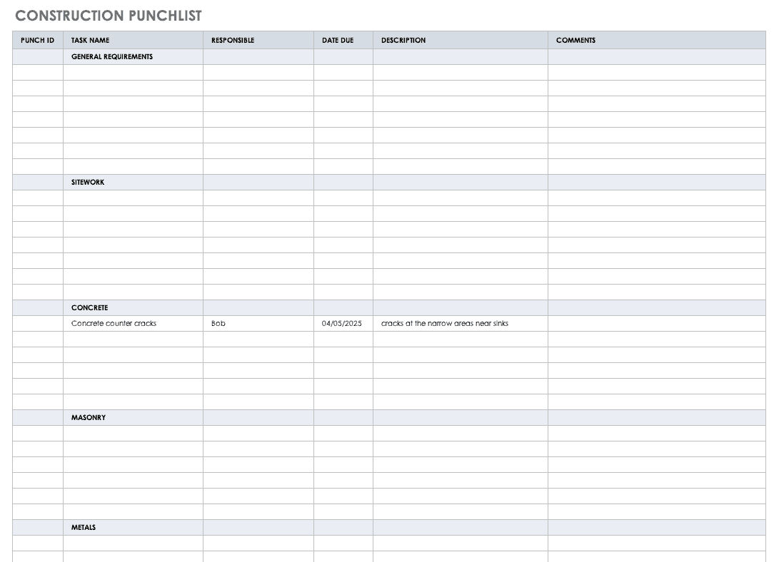 Construction Punchlist Template