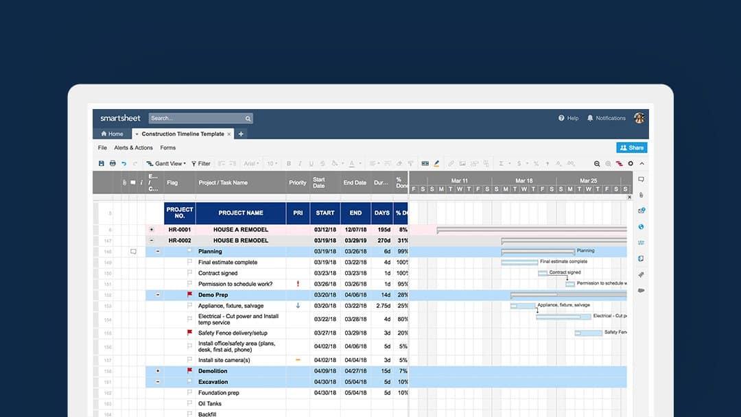 Construction Project Management Templates Smartsheet
