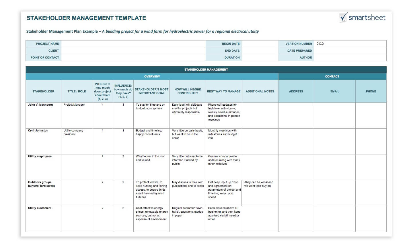 Stakeholder Management Template