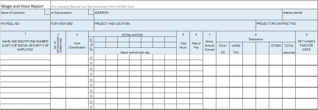 Wage and Hour Report Template