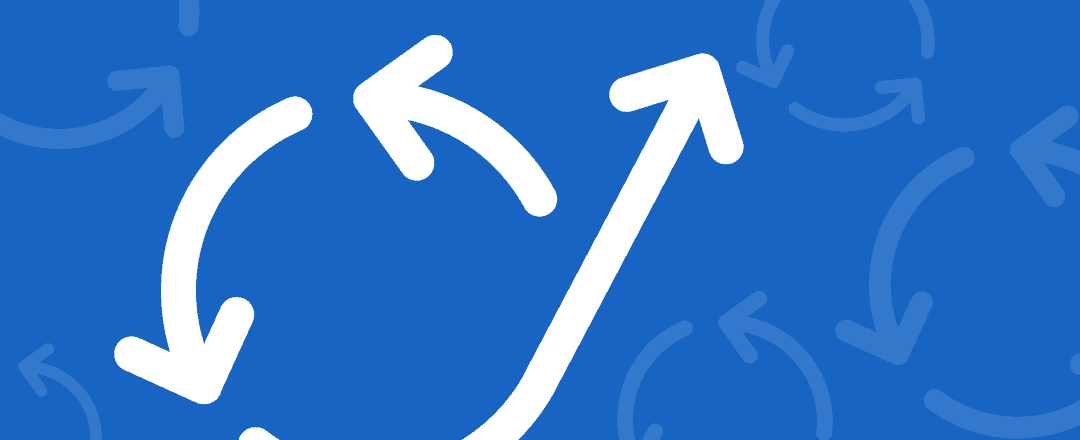 Arrows point in a counter clockwise direction with an arrow pointing upward