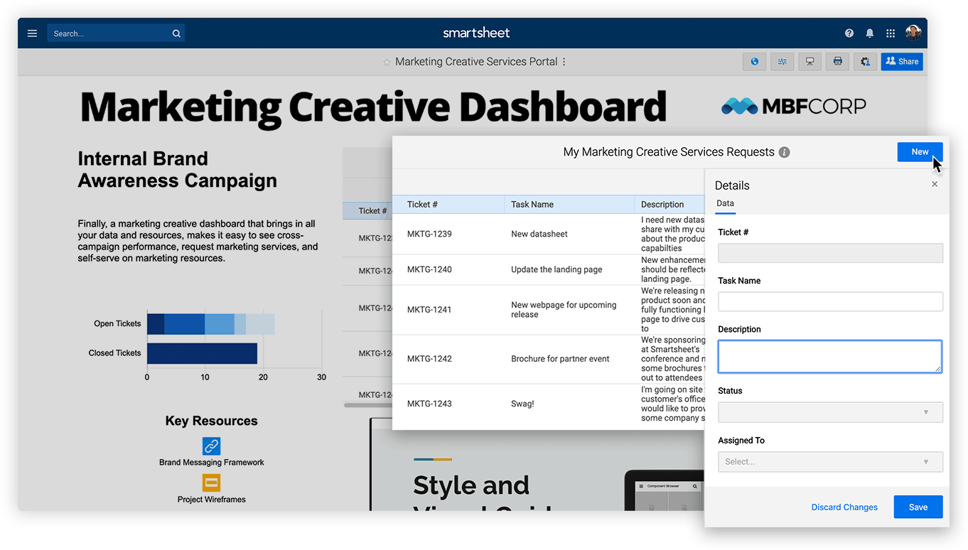 Example of Smartsheet Dynamic View embedded in a marketing dashboard.