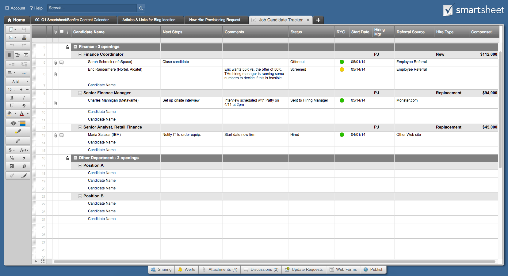 Job Candidate Tracker template