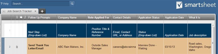 project manage your job search smartsheet