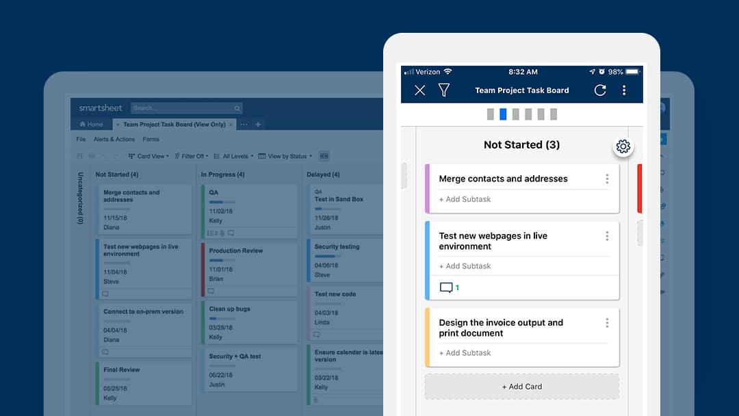 Team Project Task Board template in Smartsheet card view