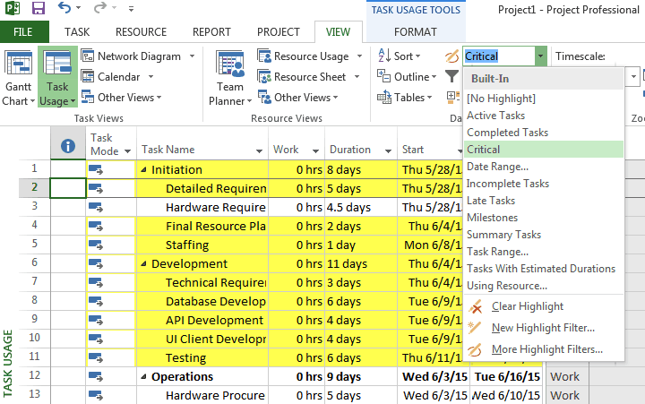 Critical Path in Microsoft Project
