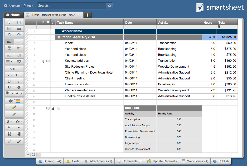 project timesheet template smartsheet